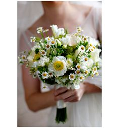 Charming Chamomile, Poppy and Sweetheart Rose Bridal Bouquet {Wildflowers Florist, Photo: Marie Labbancz}