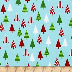New-100/% Cotton Robert Kaufman  Jingle Multi Colour Christmas Trees Design