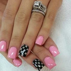 PINK WITH BLACK  SILVER CHECKERED DESIGN