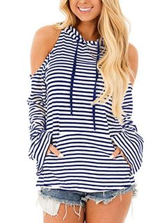 2dbd7f3641 FARYSAYS Women s Pullover Hoodie Striped Cold Shoulder Long Sleeve Casual  Sweatshirt With Kangaroo Pocket Sweaters For