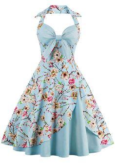 $19.92 Halter Floral Print Pin Up Dress - Cloudy