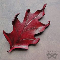 Leather Leaf Hair Barrette  Red Oak Leather Clip With by beadmask, $18.00