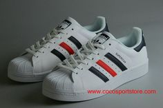 6038634b8441 Customize Womens Adidas Superstar Dark-blue Red Stripes White Shoes On Sale
