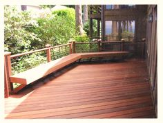 cable railing with benches | Ipe Deck with Built in Bench and Cable Rail