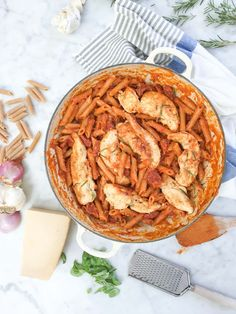 One Pan Rosemary Chicken with Penne and Vodka Sauce