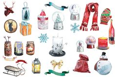 A Winter Story - Watercolors by Friendly Label on @creativemarket #Christmas…