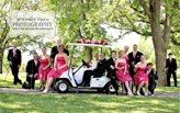 wedding party and golf cart