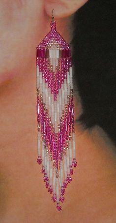 Native American Beaded Earrings- Hot Pink, White Seed beads, White Bugle beads, Pink Bugle beads, Long Earrings Native American Beaded Earrings Hot Pink White by BlueTurtleSky Beaded Earrings Native, Beaded Earrings Patterns, Seed Bead Patterns, Bracelet Patterns, Seed Bead Jewelry, Seed Bead Earrings, Diy Earrings, Seed Beads, Beaded Jewellery