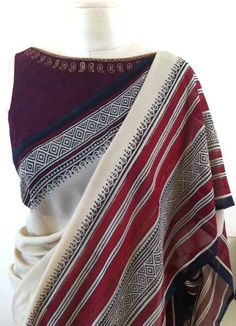 Shyla and Sangeeta of SHYNA Design Studio lead a highly skilled group of artisans from Kutch, Jodhpur and Uttar Pradesh with traditional embroidery. Simple Sarees, Trendy Sarees, Stylish Sarees, Indian Attire, Indian Ethnic Wear, Indian Dresses, Indian Outfits, Indian Clothes, Sari Bluse