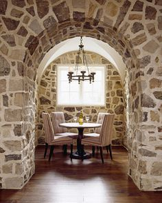Stone walls, a lil wine tasting room. Stone Archway, Luxury Real Estate Agent, Harrison Design, Wine Tasting Room, Hall Design, Elle Decor, Contemporary Furniture, Interior Inspiration, Beautiful Homes