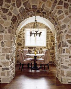 Stone walls, a lil wine tasting room. Stone Archway, Harrison Design, Wine Tasting Room, House By The Sea, Hall Design, Wine Cellar, Elle Decor, Contemporary Furniture, Interior Inspiration