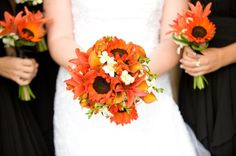 """gardenia sunflower and (calla) lily bouquet -switch out the calla lilies with orange/coral lilies. orange sunflowers are """"firecracker"""" sunflowers"""
