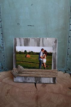 Hand made rustic wooden frame with twine and burlap accents. This makes a perfect gift for any occasion! Stained in dark walnut with whitewash finish. This fram