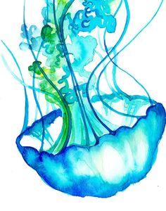 Medusa azul imprimir acuarela diversión por TheColorMaven en Etsy