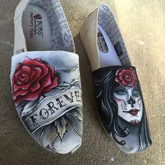 día de los muertos tatuaje estilo zapatos por christinaPcreations