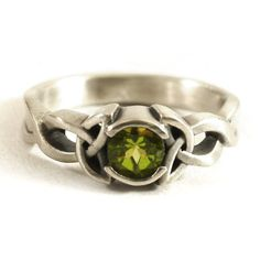 Celtic Engagement Ring With Green Peridot Stone & by Spoonier
