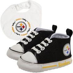 Pittsburgh Steelers Infant Bib and Shoe Gift Set - Black/White