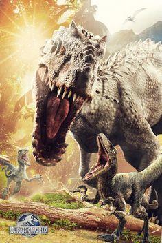 'Jurassic World' T-Rex and Indominus Rex Posters Jurassic World Poster, Jurassic World T Rex, Jurassic Park Series, Jurassic World Fallen Kingdom, Jurassic World Indominus Rex, Jurassic Movies, Michael Crichton, Science Fiction, Tyrannosaurus