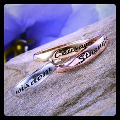 """AVAILABLE 3 Inspirational Rings Sz 7 Brand New in Box. Set of 3 Inspirational Rings. Set includes: """"Wisdom"""" made of Platinum Over Nickel Free Sterling Silver, """"Strength"""" made of 14k Rose Gold over Nickel Free Sterling Silver, & """"Courage"""" made of 14k Yellow Gold over Nickel Free Sterling Silver. All stamped GP925! Rings are a Size 7! Jewelry Rings"""