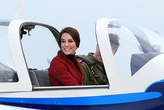 Catherine, Duchess of Cambridge is seen inspecting a training plane during a visit to the RAF Air Cadets at RAF Wittering on February 14, 2017 in Stamford, England.  The Duchess of Cambridge is Royal Patron and Honorary Air Commandant of the Air Cadet Organisation. - The Duchess Of Cambridge Visits The RAF Air Cadets At RAF Wittering