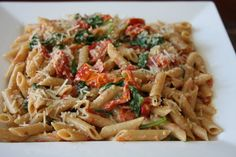Whole Wheat Penne Pasta with Sundried Tomato, Goat Cheese and Butternut Squash Sauce