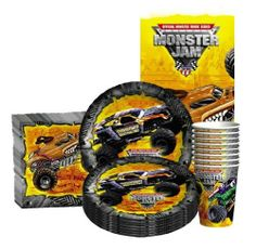 Monster Jam Party Kit by Designware. $14.99. (8) 9oz. Cups/(8) Dessert Plates/(16) Beverage Napkins/(1) Tablecover