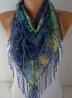 My Other NEW SCARVES, CROCHET and KNITTING Shop; http://www.etsy.com/shop/anils ------------------------------------------  This scarf is triangle shaped. These types of scarves have laces only at two sides.  Measurements : Triangle ----- Without Lace Lenght : 1.40 cm -- 56 inches Wide : 50 cm -- 19 inches  fabric, soft, lightweight.  *** There are some holes that adds creativity to the scarf. Very elegant and popular one!  It is a very practical ,useful , feminine , uniqu...