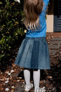 Shelley Made: Tutorial - Upcycle Jeans to Twirly Skirt - this is a really easy skirt to make and sooooo cute!.
