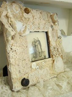 "WEDDING FRAME...Vintage Laces & Trims Assemblage Photo Frame Primitive French Shabby Style by ""vintagedragonfly54"" on Etsy"