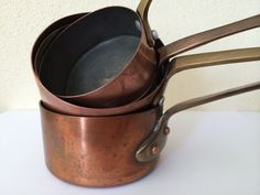 French Vintage Copper Pots Sauce Pans by CRumpffCollectibles, €52.00