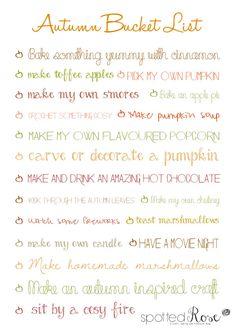 Spotted Rose: Autumn Bucket List  #autumn #autumnbucketlist #autumnthingstodo