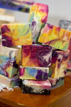Groovy effect bar soap , love the rainbow of colors  from Bath Alchemy - A Soap Blog and More