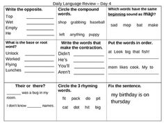 10-day Daily Language Review Packet -- SO MUCH GOOD STUFF! Opposites, compound words, beginning ending and vowel sounds, base words / root words, contractions, sentence order, their vs. there, rhyming words, and fixing sentences! We do these to prep for NWEA and as a quick daily practice & my first graders love it! Great for grades 1-5!