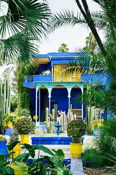 The beautiful Jardin Majorelle in Marrakech in Designed in the early century by the Orientalist painter Jacques Majorelle the botanical have colorful local flora, along with a small café and bookshop. Places Around The World, Oh The Places You'll Go, Places To Travel, Travel Destinations, Places To Visit, Around The Worlds, Jardim Majorelle, Beautiful Places, Beautiful World
