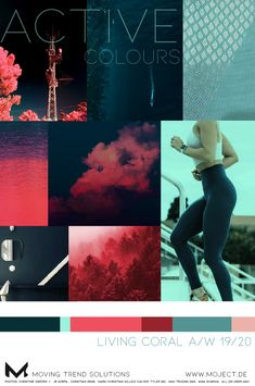 Active colour forecast A/W for sports apparel as gymwear, fitness clothing or athleisure: how you can use Living Coral, the colour of the year with green tones from mint to dark forest you can see in my latest moodboard. Mood And Tone, New Fashion Trends, Fashion Edgy, Fashion Hats, Fashion Vintage, Fashion Women, Fashion Brands, Fashion Jewelry, Live Coral