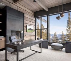 This fabulous two-story modern ski home was designed by renowned architectural studio Locati Architects, located in Big Sky, Montana. Residential Interior Design, Office Interior Design, Best Interior, Office Interiors, Office Designs, Modern Rustic Homes, Mid-century Modern, Modern Rustic Office, Contemporary Office