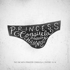 Hand drawn lettering with textures added in Photoshop. ...All in honour of Princess Consuela Banana Hammock. | Via Behance