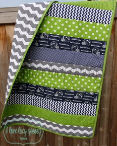 Made to order. Seattle Seahawks Striped quilt by ILoveLucyGoosey, $85.00