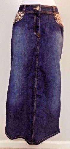 Women's Denim D Gree Modesty Long Denim Jean Skirt Animal Print Details Size 14…