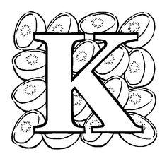 Letter K Kiwi Coloring Page