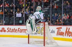 Kari Lehtonen taking a break while the Stars lead the Flames 7-2