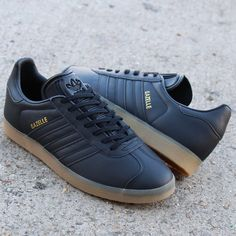 wholesale dealer 8b881 42b2e The black out adidas Gazelle crafted from a fresh leather with classic gum  sole. a