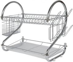 2 Tier Dish Drying Rack Includes cutting board holder and flatware holder Stylish design with chrome plated steel Removable tray for easy cleaning and assembly Plastic water catcher Dish rack enables
