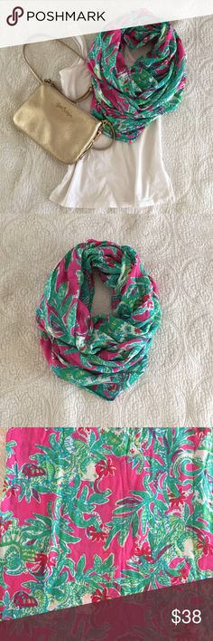 "Lilly Pulitzer Riley Scarf 'Seeing Pink Elephants' Lilly Pulitzer Infinity Loop Scarf. Super soft and a great add-on to any outfit! Measures 28"" x 72"". Printed Rayon (100% Rayon). Dry clean or machine wash cold, delicate. Lilly Pulitzer Accessories Scarves & Wraps"