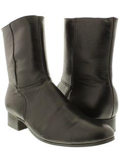c5e7f3dc6015b Men s cowboy boots Black genuine leather short ankle western rodeo biker  zipper