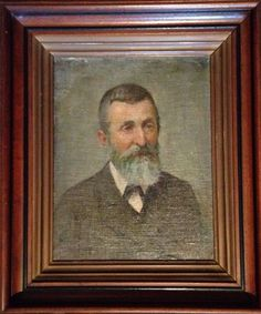 """Antique 19th century portrait  in antique walnut frame with black and gold trim detail. Artist - Rohowsky / Subject - Unknown. 12""""w x 14""""h SOLD"""