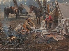 COUNTING PELTS   Not Just Wildlife Art of John & Suzie Seerey-Lester