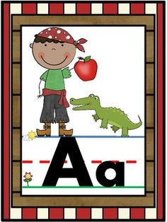 Decorate your pirate themed classroom and help students learn capital and lowercase letters and letter sounds with these fun alphabet posters. Classroom Charts, Classroom Themes, Teaching Themes, Learning Resources, Alphabet Line, Alphabet Posters, Pirate Day, Pirate Theme, Abc Activities
