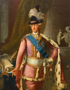 Gustav III, 1772, by unknown painter, wearing the ekolsundsdräkt (Swedish National Costume). Love the power pink silk outfit, even the ermine lined cape is a nice touch, but that hat has to go!