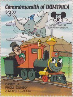 """Dumbo y Casey Jr. de la película clásica """"Dumbo"""" 60 Aniversario de Mickey Mouse 07/12/1987 Dominica"""